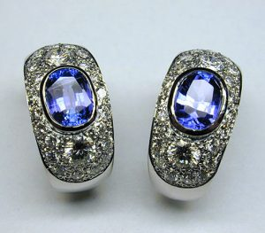 Tanzanite and diamond ear cuffs